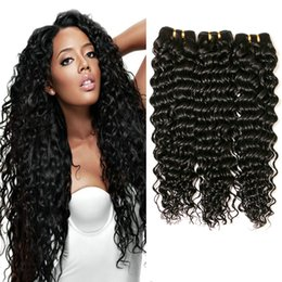 Wholesale curly remy hair styles - Hot selling Malaysian Virgin Weave 3 4bundles Human Hair deep Wave Style, 100% Human Hair extension,double weft