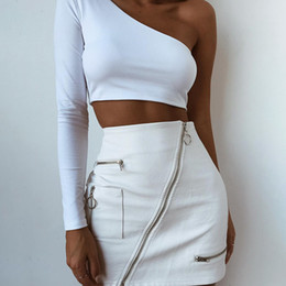 multi cores bola vestidos meninas Desconto 2018111207 Moda Chic branco Faux saia De Couro mulheres oblíqua zipper verão saias 2018 bodycon cintura alta saia mini inferior