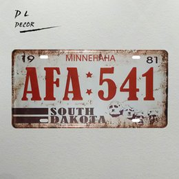 Wholesale Antique Wall Murals - DL-AFA 541 MUNNEHAHA License plate vintage tin sign crafts antique tray garage wall decor
