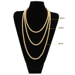 Wholesale rowing single - Fashion Luxury Mens Chains Hip-Hop 1 Row Alloy Necklace Full Rhinestone Single Row Men Necklace European and American Jewelry