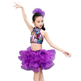 2019 jazz violet Nouveaux enfants costumes de danse de jupe pourpre pour les filles enfants compétition de paillettes d'enfants vêtements de performance de scène de jazz promotion jazz violet