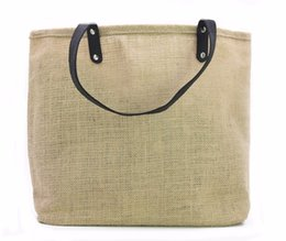 Wholesale wholesale jute totes - LG0055,Free Shipping,100pcs lot, Wholesale Jute Leather Bag,Customize Jute Tote Bag with leather handle,Custom size logo accept