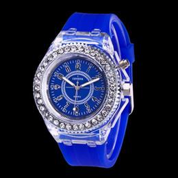 Wholesale Geneva Led - Luminous 7 color led watch fashion trend of male and female students couple jelly Geneva Transparent Rhinestone Case Silicone watches
