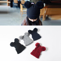 Wholesale Knitted Animal Hats For Kids - Winter Baby Hats Girls Boys Knitted Hat for Kid Fur Two Pompon Ball Cute Mouse kids Caps For Baby Girls Warm Soft Cap