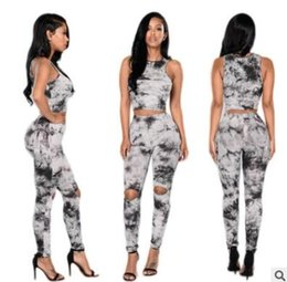 Wholesale Ladies Classic Clothing - Summer women clothes suit Explosion classic ink printing set Sleeveless bare waist trousers suit Sports and leisure ladies clothing
