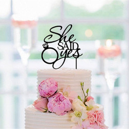 Wholesale Wedding Topper Silhouette - She Said Yes Cake Topper Wedding Cake Topper Wedding Decoration Supplies Favor Propose Acrylic Silhouette Fast shipping