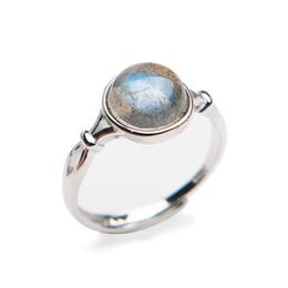 Wholesale labradorite rounds - Genuine Natural Labradorite Strong Blue Light Round Stone Bead Adjustable Size Sliver Women Ring 9*9mm