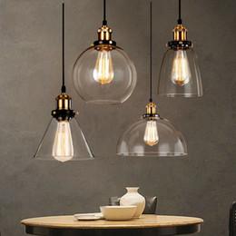 Vintage deckenleuchte glas online-Vintage Pendelleuchten Glas Hanglamp E27 industrielle Pendelleuchten Beleuchtung Bar Cafe Küchenarmaturen Leuchte Deckenleuchten