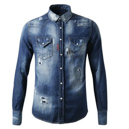 Canada Chemise à manches longues pour hommes avec broderie brodée Chemise en jean brodée cheap embroidered long sleeve shirts Offre