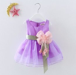 Wholesale Costume Tutus For Girls - 6 Color Summer Baby Girls Dresses Princess Bow Weddings Bow Dress Kids Birthday Party Costume Children's Clothing For 2-5Y