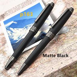 Mb 163 pluma online-Nueva lujo mb marca de la pluma de la pluma 163 Mate Negro Classique bola de rodillo plumas opción pluma / bolígrafos para escribir blance plumas de diseño de regalo