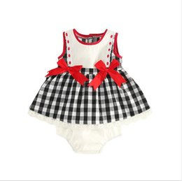 Wholesale 12 Months Girl Red Dress - summer sets 2018 NEW arrival Girls Kids cute plaid printing red lace bowknot dress + kids cute shorts high quality breathable cotton sets