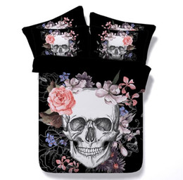Wholesale Super King Size Bedding - NEW Europe Style Skull Flower Design Polyester Cotton 3 PCS Bedding Set Pillowcase Full Queen King Super King Size 401