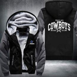Wholesale army green fleece jacket - 2018 Hot Fashion Dallas Winter Autumn Women Men's Hoodies Cowboys Zipper Jacket Casual Sweatshirts Thicken Coat Cashmere Hoodie