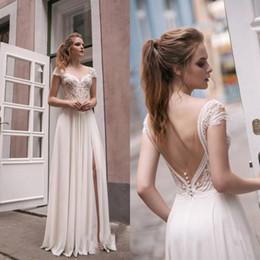 Wholesale Short White Dreses - Sheer Split Side High Sexy Sheath Wedding Dreses 2018 Short Sleeves Illusion Full Length Beach Long Bridal Gowns