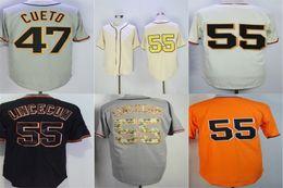 Wholesale free tim - 2016 New Free Shipping Mens Womens Kids San Francisco 55 Tim Lincecum Beige Black White Orange 47 Johnny Cueto Grey Baseball Jerseys