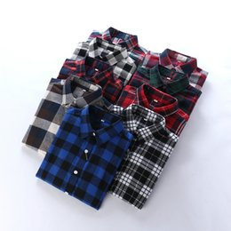 Wholesale Women Chiffon Shirt Loose - plus size Casual Plaid Women Blouses Red Black Check Boyfriend Style Long Sleeve Shirts Loose Camisa Tops Autumn Plus Size 2018