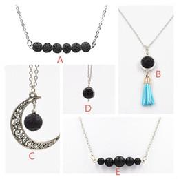 collares de piedra negro mujer Rebajas 5 Estilos Collar de Piedra de Lava Natural Negro Color de Plata Aromaterapia Aceite Esencial Difusor Collar Para Las Mujeres joyería