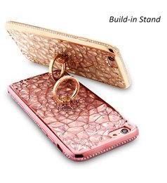 Wholesale Iphone Case Rhinestone Retail - For Iphone X Luxury Floral Crystal Rhinestone Silicone Glitter Case Bling Diamond Ring Stand Cover For Iphone 8 7 6 6s Plus Retail Package