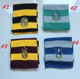 Argentina Hot Harry Potter Bufandas Escuela Gryffindor Ravenclaw Hufflepuff Slytherin Badge Bufandas para Mujeres Hombres / niños Potter Fashion Gift winte Bufanda Suministro