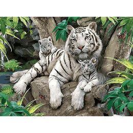 números frameless da pintura da imagem Desconto Tigres brancos sem moldura pintura diy by numbers animais acrílico imagem moderna arte da parede da lona de pintura para presente original 40x50 cm