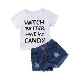 2019 джинсы для девочек Kids Baby Girls Toddler Coon Shortsleeve Leer T-shirt Tops Tee Summer Clothes Shorts Jeans Casual Outfits Baby Girl 1-6T дешево джинсы для девочек