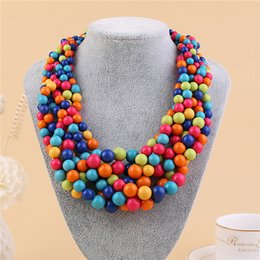 Wholesale Making Resin Beads - 2017 New Fashoin Bohemia beads necklace jewelry Color Resin Bib Round Bead Necklace Hand-made Necklace For Women wholesale