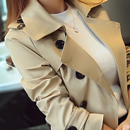 Wholesale Classic Trench Coat Women - S to 5XL 2017 new spring and autumn Korean slim long windbreaker plus size solid fashion classic double breasted coat Trench
