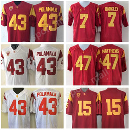 9b5c21e80b7 USC Trojans Jersey Men 7 Matt Barkley 15 Michael Bowman 43 Troy Polamalu 47  Clay Matthews NCAA Football Jerseys College PAC 12 Red White usc football  jersey ...