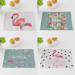 Wholesale fabric table mats - Creative Flamingo Design Table Mat Fresh Candy Color Style Heat Insulation Bowl Pad Cotton Fabric Art Coasters High Quality 5 8cta Z