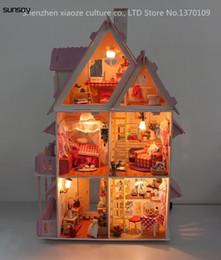 2019 juguetes alicia DIY Modelo Sunshine Alicia Casa de Muñecas Envío Gratuito Arme Villa Villa Casa / Muebles de madera Juguetes de madera casa en miniatura rebajas juguetes alicia