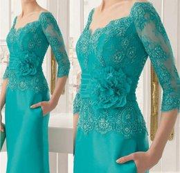 Wholesale Blue Full Skirt - Half Long Sleeves 2018 Lace Mother Of Bride Dresses Full Length Square Neckline Beading Formal Evening Gowns With Flower Belt Pocket Skirt