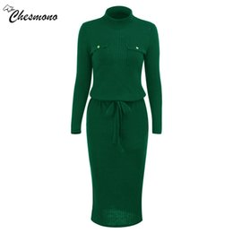Wholesale Warm Elegant Sweaters - Winter High Elasticity knitted bodycon dress women casual long sleeve waist tie dress Elegant warm slim sweater vestidoes