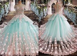 Verde menta 15 vestidos online-2019 Princess Mint Green vestido de bola Vestidos de quinceañera Joya Manga corta Rosa Apliques vestidos de 15 años Vestidos de fiesta de graduación para dulces 15