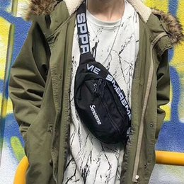 Wholesale outdoor chest - 17FW Box Logo Printed 44TH Waist Bag Men Women Outdoor Travel Chest Pack Backpack Black Red Fashion Practical Shoulder Bags HFYMBB004