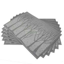 Wholesale Slip Resistant Table Cloth - 6PCS Lot Grey Blue PVC Dining Table Mat Disc Forest Tree Pads Bowl Pad Coasters Waterproof Table Cloth Pad Slip-resistant
