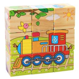 micro bloques de construcción Rebajas Los niños bloques de construcción de madera 3d rompecabezas juguetes educativos seis lados sabiduría cubos mágicos transporte rompecabezas juguetes de educación temprana