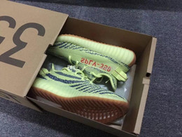 Wholesale raw yellow - Free 3-7 Days DHL Shipping Mens And Womens Sole 350 V2 Semi Frozen Yellow Running Shoes For Sale Semi Frozen Yellow Raw Steel-Red
