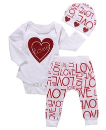 Wholesale Love Cute Baby Boy - Love Print Romper Pants Cotton Cute 3pcs XMAS Newborn Toddler Baby Girl Clothing Set Baby Girls Clothes Outfits Set 0-18M