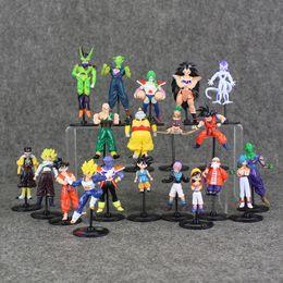 Wholesale Mini Son - 20Pcs Lot Two Style Dragon Ball Mini Q Version Action Figure Son GoKu Bulma Oolong Yamcha Tenshinhan Model For Gift Collectible