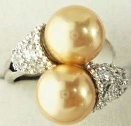 Wholesale Plastic Rose Beads - Noblest 8mm Golden South Shell Sea Pearl Round Bead Ring 7 8 9