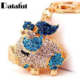 Wholesale Key Holders For Car Brands - beijia New Brand Pig Wings Crystal Rhinestone Keyrings Key Chains Holder Women Gift Bag Pendant For Car Keychains K250