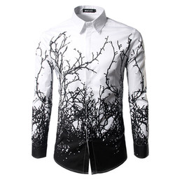 Shirt Men 2017  Branches Ink Printing Mens Dress Shirts Casual Slim Fit White Black Chemise Homme Cotton Shirts Men cheap cotton branches от Поставщики хлопковые ветки