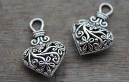 5 Adet Charm Kolye Çiçek Desen Hollow Kalp Telkari Gümüş Ton 31 * 19mm nereden