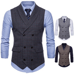 Camisa doble moda hombre estilos. online-New Vests Double Breasted Lapel Neck Men Vests 2018 New Style Plaid Designer Fashion Vest for Mens Casual Formal Clothing Top Shirts Man