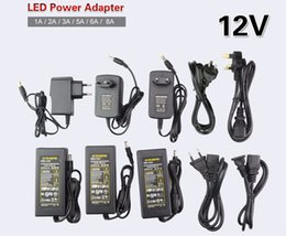 Wholesale led lamp power driver - LED Power Supply Adapter DC12V   DC24V 1A 2A 3A 5A 6A 8A For 12V 24V led strip lamp lighting led power driver plug