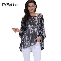 91858789 BHflutter 4XL 5XL 6XL Plus Size Women Clothing 2018 New Chiffon Blouse Shirt  Batwing Sleeve Letters Print Summer Tops Blouses