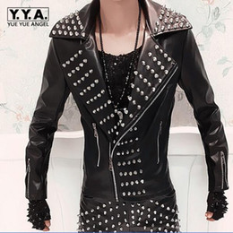 Wholesale punk rock leather jacket men - Wholesale- 2017 New Fashion Mens Punk Rock Costume Rivets Spike Motorcycle Jacket PU Leather Coats Plus Size MLXL2XL3XL