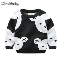 Wholesale Girls Wool Winter Coats - Xirubaby Winter Boys Girls Sweaters Cartoon Bear Solid Baby Kids Knitwear Wool Warm Pullover Outerwear Children Cardigan Coats