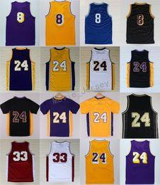 Wholesale flashing shirts - Cheap 24 Retirement Jersey 8 High School Lower Merion 33 Shirt Yellow Purple White Black Blue Red Stitched Size 44-56